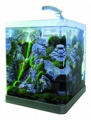 Akwarium NANO 21L LED gięte szkło, filtr + oświetlenie, srebrne